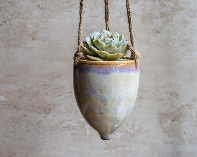 Hanging Planter-Whimsical Planter-Dreamy Glaze-Soft Lavender Creme-Succulent Planter-Ceramic Planter-Indoor Planter-Cone Planter-HP125