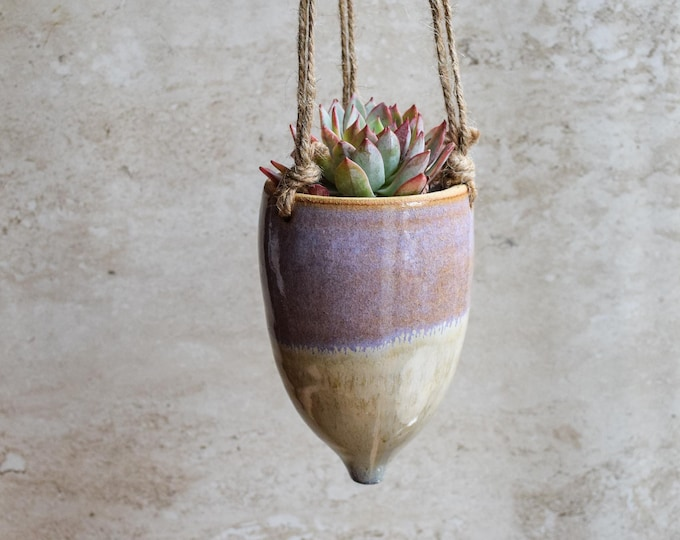 Hanging Planter-Whimsical Planter-Dreamy Glaze-Soft Lavender Creme-Succulent Planter-Ceramic Planter-Indoor Planter-Cone Planter-HP122