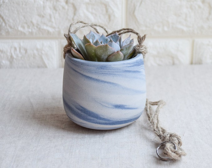 Hanging Planter,Ceramic Planter,Marbled Planter,White Planter,Blue Planter,Succulent Planter,Indoor Planter,Modern Planter,no plant,SP399
