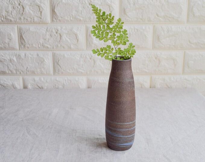 Marbled Vase, brown white vase, bud vase, ceramic bud vase, contemporary vase, flower vase, handmade vase, interior design, V87