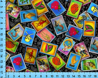 Loteria Fabric By The Yard, Fiesta Lottery Card Bingo Game Pattern on a Paisley Background