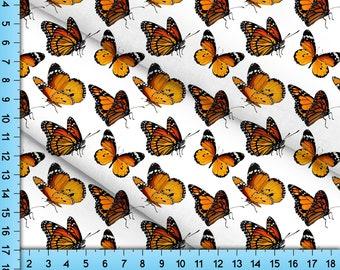 Orange Monarch Butterflies Fabric Printed by the Yard, Cottagecore Design for Crafts, Upholstery, Clothing