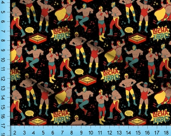 Lucha Libre Mexican Wrestler Fabric By the Yard, Half Yard, Fat Quarter