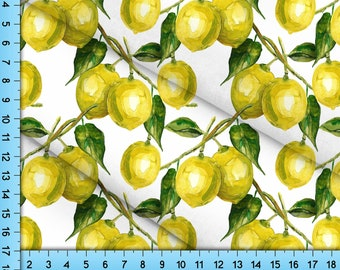 Lemon Fabric Printed By the Yard. Your Choice of 10 Fabrics featuring Yellow Lemons on a Tree design