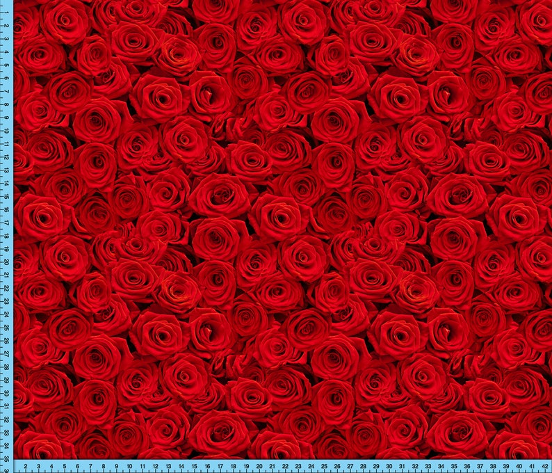 Realistic Red Roses Fabric Printed on the fabric of your choice Red Roses Fabric By The Yard