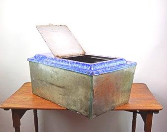 Metal Storage Box, Granite Water Basin, Graniteware Storage Box, Blue and White Enamel, Enamel Flour Bin, Grain Bin, Splatterware Bin