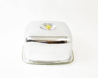 Related to this item  sc 1 st  Etsy & Items similar to Retro Chrome Cake Plate Square Cake Plate and ...