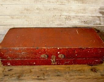Rustic Carpenters Tool Box, Handmade Toolbox, Carpenter's Tool Carrier, Rustic Red Box, Tool Storage, Primitive Box, Red Painted Tool Box