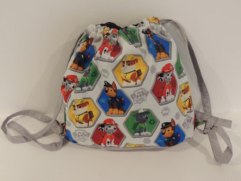 Boy or Girl Bag Handmade Drawstring Bag Paw Patrol Print Style Bag Paw Patrol Fabric Bag Gray Color Drawstring Bag Free Shipping
