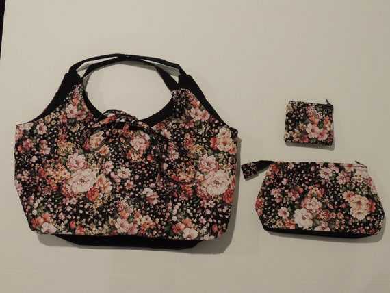 b5cad25366a7 Free Shipping 3 Piece Bag Set Red Floral Pattern Design Red