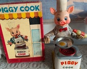 Vintage Linemar Battery Operated Japan Piggy Cook 1950s Tin toy with BOX , Working and RARE