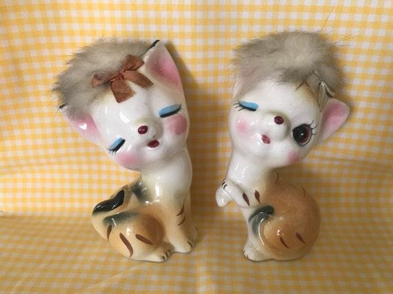 vintage kitsch japan ceramic cats eyelash winking kitty etsy