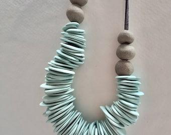 Turquoise Statement Necklace , Bib Necklace, Simple&Minimalist Porcelain Necklace, Ceramic Necklace, Boho Necklace, Unique Necklace