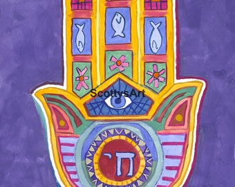 "Original Watercolor Painting of a Hamsa Hand with Evil Eye - 22"" x 30"""