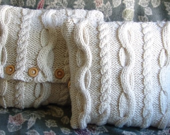 Chunky Celtic Inspired Cable Knit Pillow Cover; 12x12 inches