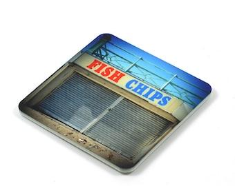Fridge Magnet, Fish & Chips Fridge Magnet, Photo Magnet, Plastic, Square, Handmade