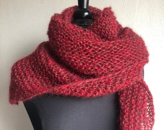 Chale / mohair scarf and red and brown mottled silk, shiny red thread, pure wool