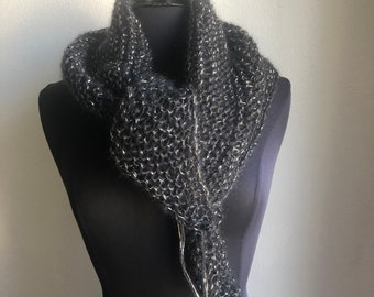 Chale / scarf mohair and silk black, silver and gold, pure wool