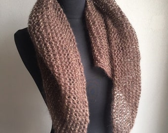 Chale / mohair scarf and brown silk and gold, pure wool