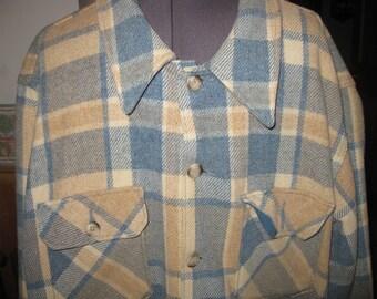 3db9c15235f Mens LG vtg Eddie Bauer Aqua Beige Check Wool Shirt Jacket   70s USA CPO  type jacket free ship awesome woodland vtg 70s