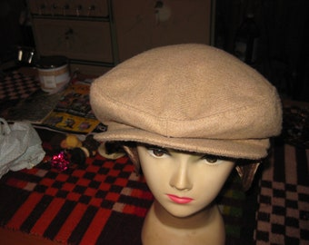 fe669ae74082b Vtg Mens Gentleman Cabbie Newsboy hat beige with earflaps and quilted  thermal lined wool Marshall Fields lg