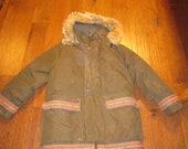 Vtg Herters by Hudson Bay virgin Goose Down Eskimo Snorkel coat Menss SM green parka zip off coyote hood hippie boho 70s parka