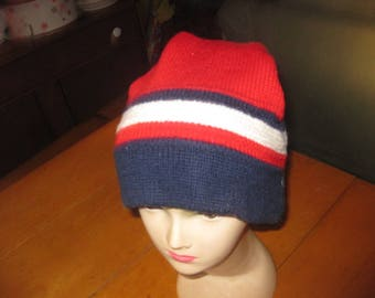 Vtg Smiley Wool ski beanie hat striped red white blue wool free ship