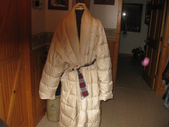0233b17e2b Items similar to Vtg Lands End Down robe ivory flannel lined in 2 X sz  50-52 80down 20 feather long robe free ship on Etsy