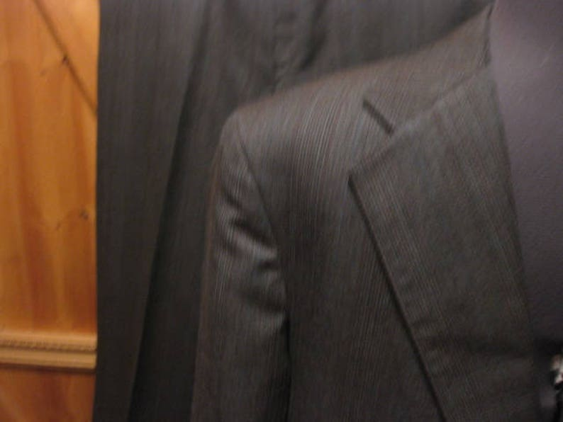 Vtg Palm Beach wool gray brown blend plaid two button suit 3840 R pants 34x30 wool mint like new suit great color