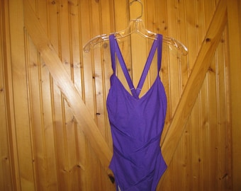 Vtg Carol Wior 14 Tall underwire Bra one piece swimsuit/ Glam Suit/ Pinup  / slimming high cut leg purple free ship
