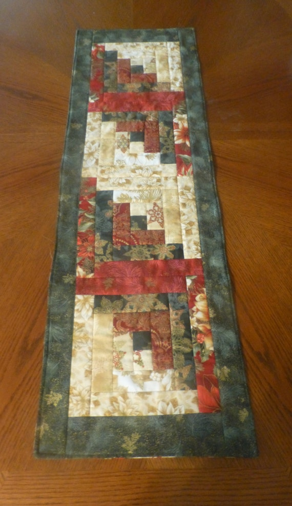 Christmas Quilted Table Runner Christmas Log Cabin Design ...