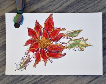 Christmas GIFT TAG-3 for 10 -Red poinsettia handpainted