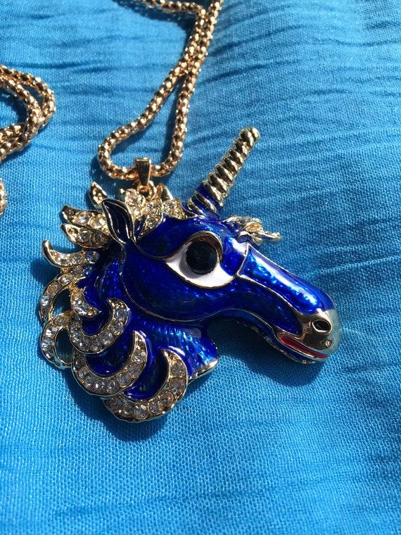Royal Blue Unicorn Necklace! - image 2