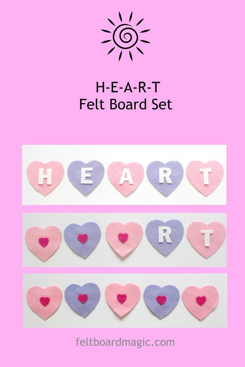 HEART H-E-A-R-T Pdf Pattern Felt Board Set, valentine, valentines, Toys,  BINGO Song Library, Circle Time, Story time, ECE