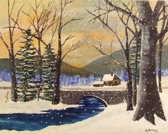 A beautiful, peaceful winter sunrise landscape painting.