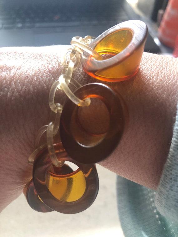 Womens's Vintage Celluloid Amber Bracelet