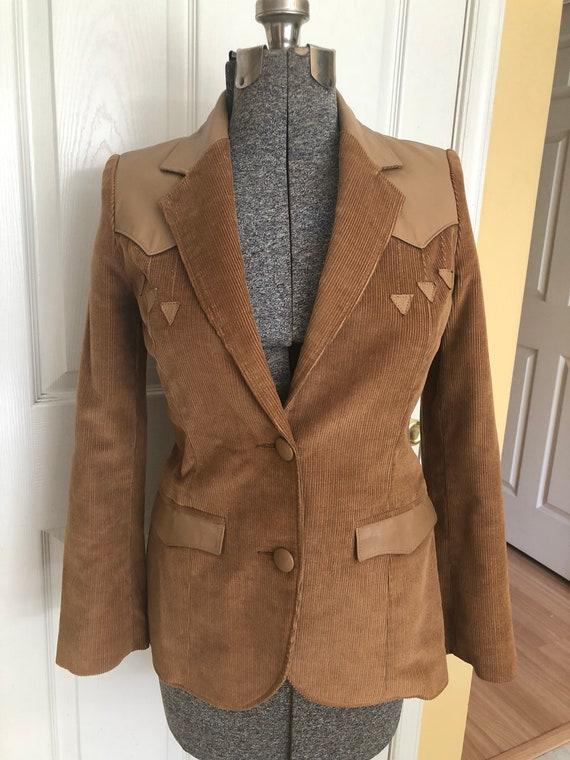 Vintage 70s brown corduroy leather blazer Sz 10