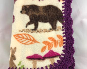 Purple Crocheted Edge, Nature, Fleece Baby Blanket