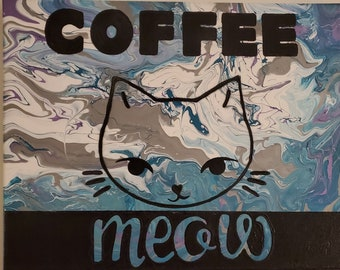 Coffee Meow Original Acrylic Painting on Canvas 20 x 16 Abstract Art