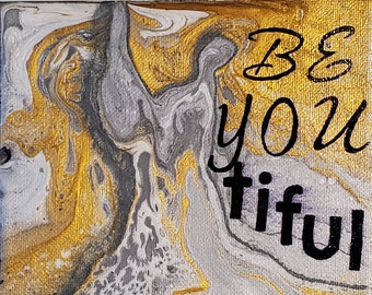 Dress Form Beyoutiful Original Acrylic Canvas Painting 6 x 6 Shelf Sitter Art by Annie LaVallee