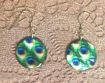 Peacock Earrings on 14K Gold Plated Earwires, Peacock Dangle Earrings, FREE Shipping