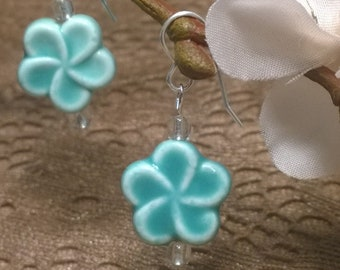Light Blue Hibiscus Flower Earrings on Hypoallergenic Sterling Silver Plated Earwires, Free Shipping