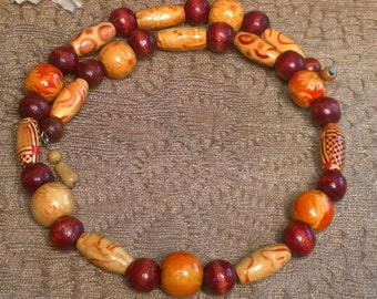 Wooden Beaded Choker Necklace, Memory Wire Choker, Memory Wire Necklace, Shades of Brownish Red Beads