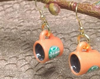 Orange Coffee Mug Earrings, Starbucks Earrings, Coffee Earrings, 14K gold plated Earwires, FREE Shipping