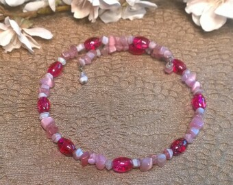 Pink Beaded Choker Necklace, Memory Wire Necklace, Pink Wire Choker, Pink Necklace