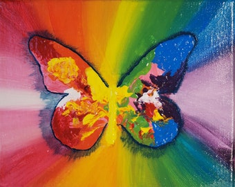 Multicolored Mariposa Original Acrylic Canvas Painting 8 x 10 Wall Decor Home Decor Rainbow Butterfly by Annie LaVallee