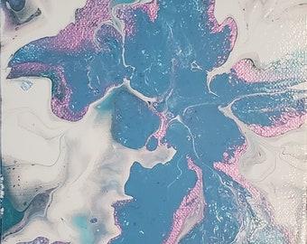 Metallic Blue Betta Fish Original Abstract Acrylic Canvas Art 6 x 6 x 1.5 Small Canvas Wall Decor Shelf Sitter