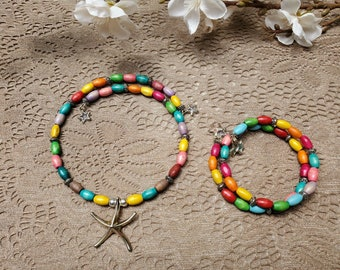 Rainbow Summer Starfish Necklace And Wire Wrapped Bracelet Set With Stars Gift Wrapped Handmade in USA