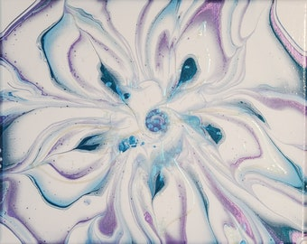 Original Floral Abstract on Canvas Flower Art Blue Purple and White Floral Wall Art Flower Wall Decor 10 x 8