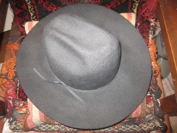 Vtg. Chris Eddy Ghost Rider Cowboy Hat Size 7.5 Black Wool  7026cb77454